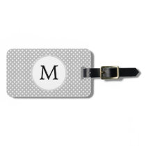 Personalized Monogram Polka Dots Pattern in Gray Luggage Tag