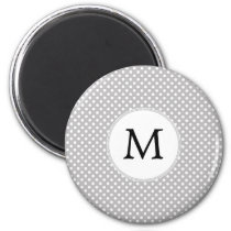 Personalized Monogram Polka Dots Pattern in Gray Magnet