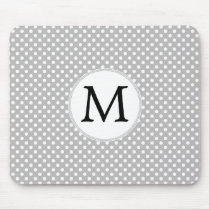Personalized Monogram Polka Dots Pattern in Gray Mouse Pad