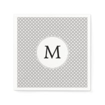 Personalized Monogram Polka Dots Pattern in Gray Napkin