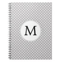 Personalized Monogram Polka Dots Pattern in Gray Notebook