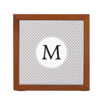 Personalized Monogram Polka Dots Pattern in Gray Pencil Holder