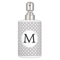 Personalized Monogram Polka Dots Pattern in Gray Soap Dispenser And Toothbrush Holder