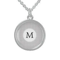 Personalized Monogram Polka Dots Pattern in Gray Sterling Silver Necklace