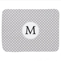 Personalized Monogram Polka Dots Pattern in Gray Swaddle Blanket