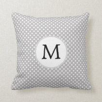 Personalized Monogram Polka Dots Pattern in Gray Throw Pillow