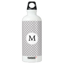 Personalized Monogram Polka Dots Pattern in Gray Water Bottle