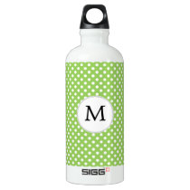 Personalized Monogram Polka Dots Pattern in Green Aluminum Water Bottle