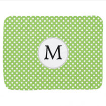 Personalized Monogram Polka Dots Pattern in Green Baby Blanket