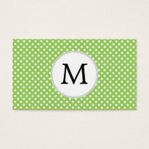 Personalized Monogram Polka Dots Pattern in Green Business Card