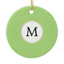 Personalized Monogram Polka Dots Pattern in Green Ceramic Ornament