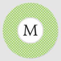 Personalized Monogram Polka Dots Pattern in Green Classic Round Sticker
