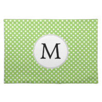 Personalized Monogram Polka Dots Pattern in Green Cloth Placemat