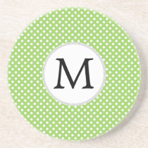 Personalized Monogram Polka Dots Pattern in Green Drink Coaster