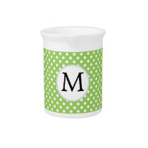 Personalized Monogram Polka Dots Pattern in Green Drink Pitcher