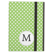 Personalized Monogram Polka Dots Pattern in Green iPad Air Case