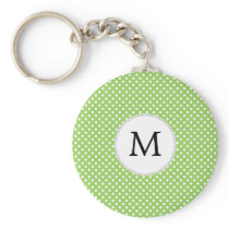 Personalized Monogram Polka Dots Pattern in Green Keychain