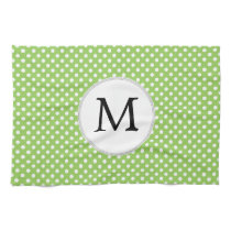 Personalized Monogram Polka Dots Pattern in Green Kitchen Towel