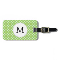 Personalized Monogram Polka Dots Pattern in Green Luggage Tag