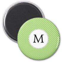 Personalized Monogram Polka Dots Pattern in Green Magnet