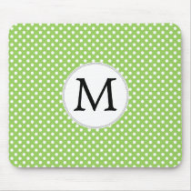 Personalized Monogram Polka Dots Pattern in Green Mouse Pad