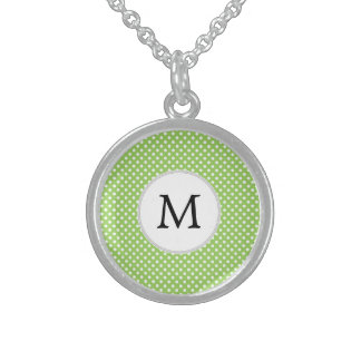 Personalized Monogram Polka Dots Pattern in Green Necklace