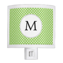 Personalized Monogram Polka Dots Pattern in Green Night Light