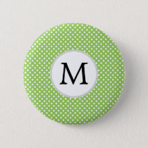 Personalized Monogram Polka Dots Pattern in Green Pinback Button