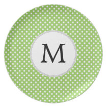 Personalized Monogram Polka Dots Pattern in Green Plate