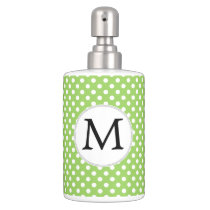 Personalized Monogram Polka Dots Pattern in Green Soap Dispenser And Toothbrush Holder