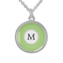 Personalized Monogram Polka Dots Pattern in Green Sterling Silver Necklace