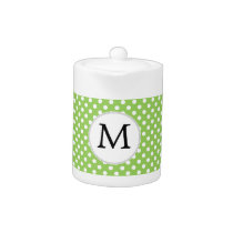 Personalized Monogram Polka Dots Pattern in Green Teapot