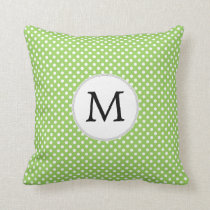 Personalized Monogram Polka Dots Pattern in Green Throw Pillow