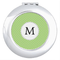 Personalized Monogram Polka Dots Pattern in Green Vanity Mirror