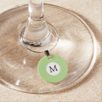 Personalized Monogram Polka Dots Pattern in Green Wine Glass Charm