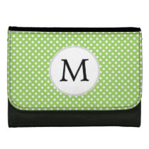 Personalized Monogram Polka Dots Pattern in Green Women's Wallets