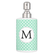 Personalized Monogram Polka Dots Pattern in Mint Bath Set