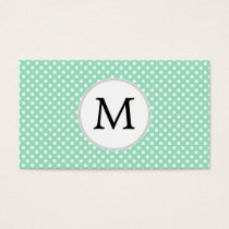 Personalized Monogram Polka Dots Pattern in Mint Business Card