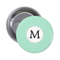Personalized Monogram Polka Dots Pattern in Mint Button