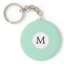 Personalized Monogram Polka Dots Pattern in Mint Keychain
