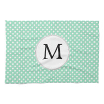 Personalized Monogram Polka Dots Pattern in Mint Kitchen Towel