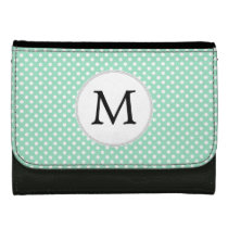 Personalized Monogram Polka Dots Pattern in Mint Leather Wallet For Women