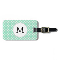 Personalized Monogram Polka Dots Pattern in Mint Luggage Tag