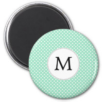 Personalized Monogram Polka Dots Pattern in Mint Magnet