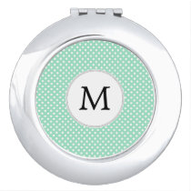 Personalized Monogram Polka Dots Pattern in Mint Mirror For Makeup
