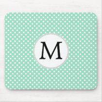 Personalized Monogram Polka Dots Pattern in Mint Mouse Pad