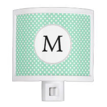 Personalized Monogram Polka Dots Pattern in Mint Night Light
