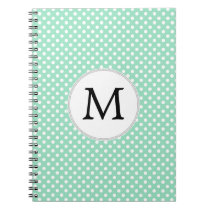 Personalized Monogram Polka Dots Pattern in Mint Notebook