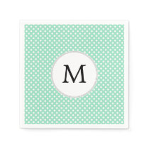 Personalized Monogram Polka Dots Pattern in Mint Paper Napkin
