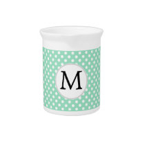 Personalized Monogram Polka Dots Pattern in Mint Pitcher